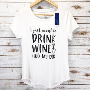 NWT Wine & Dog Graphic Tee Sz M ::MM21